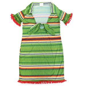 Dresses & Skirts - Green Multicolor Striped V-Neck Pom Pom Mini Dress